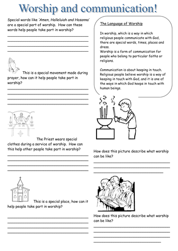 worksheet on communication and worship by vayasarah teaching resources tes. Black Bedroom Furniture Sets. Home Design Ideas