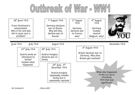 WW1: Causes of War a Timeline by emmadavid - Teaching Resources - Tes
