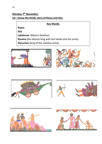 Sequencing the story of Rama and Sita (Diwali) by bethbeech ...