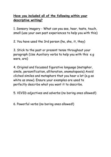 describe paragraph examples