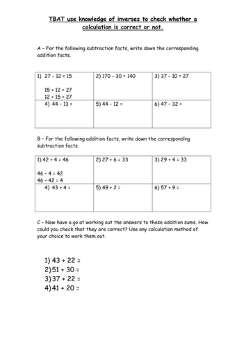 Inverse addition and subtraction to check answers by pumpkinsoup88 ...