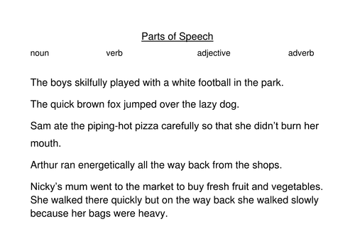 Worksheets Parts Of Speech Practice Worksheets parts of speech by ruthie66 teaching resources tes docx