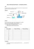 Rates of Reaction Experiments Worksheets