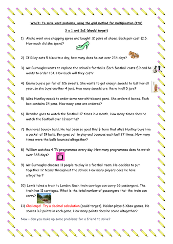 Number Names Worksheets word problems with multiplication : Multiplication word problems - Year 5 by traine3 - Teaching ...