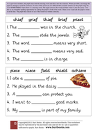 IE sound worksheet 5 (ie for thief or chief)