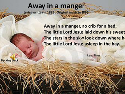 Christmas Carols.' Away in the manger' with music