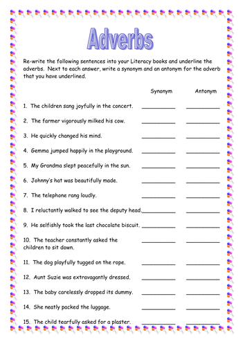 Adverbs Task Sheet by AdamRalph - Teaching Resources - Tes