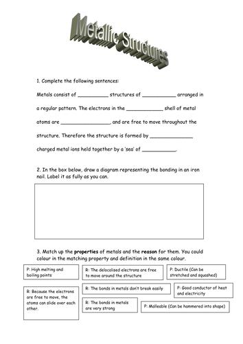 Metallic Bonding Worksheet by honeill2 - Teaching Resources - TES