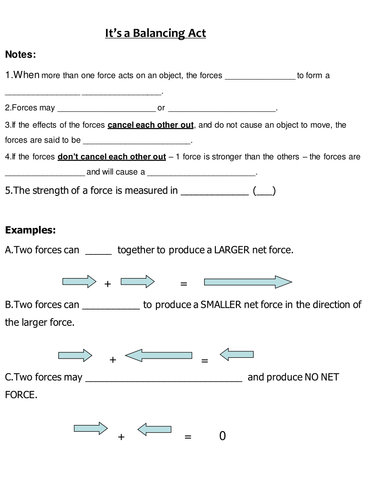 Printables Balanced And Unbalanced Forces Worksheet forces unit by masfar teaching resources tes