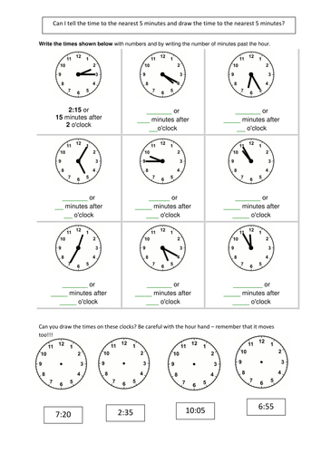 Time Worksheets time worksheets to the nearest 15 minutes : Telling the time 5 mins by smiley_scribe - Teaching Resources - TES