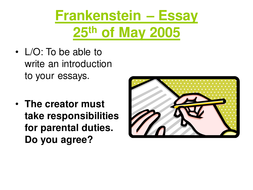 Essay About Learning English Language  Frankenstein  Essay Introppt  Essay Of Science also Persuasive Essay Papers Frankenstein Essay Preparation By Davidapaige  Teaching Resources  Tes Essay Writing For High School Students