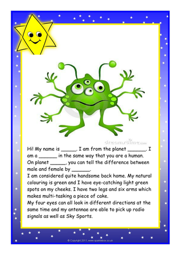 Character Design Sheet Ks1 : Describing an alien by lawood teaching resources tes