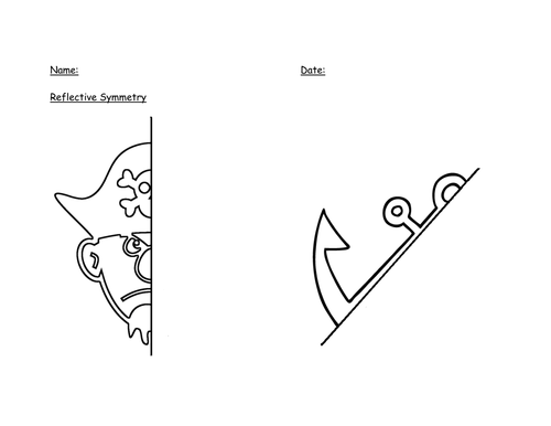 Reflective Symmetry Pirate Worksheet by alext1985
