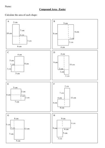 Maths KS2, KS3 Compound Areas worksheet.   Teaching Resources