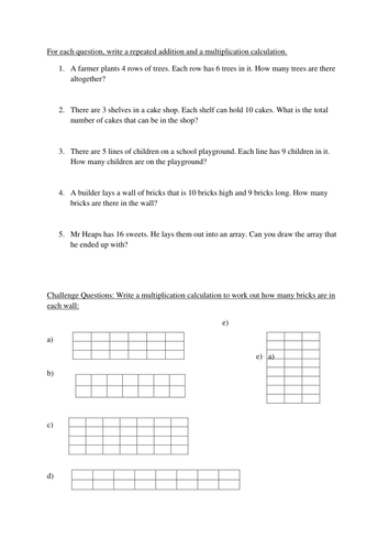 Array Multiplication Worksheets by chrisheaps - Teaching Resources ...