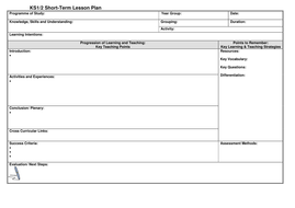 KS Lesson Plan Template By Noaddedsugar Teaching Resources Tes - Daily lesson plan template doc