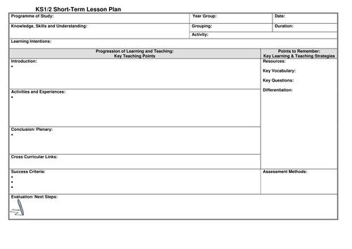 ks1 2 lesson plan template by noaddedsugar teaching resources tes. Black Bedroom Furniture Sets. Home Design Ideas