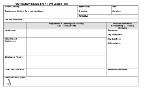 early years lesson plan template - eyfs lesson plan template by noaddedsugar teaching