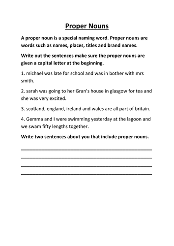 Proper Nouns by lynreb - Teaching Resources - TES