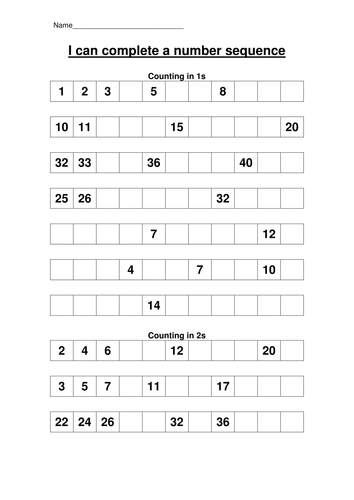 KS1 Number sequences by hroberts999 - Teaching Resources - TESNumber sequence Homework sheets.doc