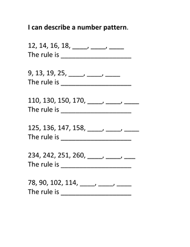 KS1 Number sequences by hroberts999 - Teaching Resources - TESI can describe a number pattern AA.doc