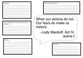 macbeth quotation analysis worksheet resource by temperance