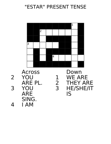 estar, to be present tense crossword by marivi_sf