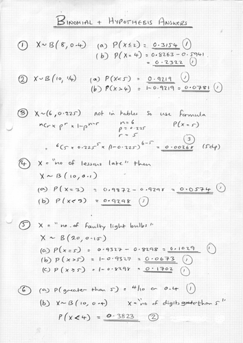 Binomial and Hypothesis Testing by phildb - Teaching Resources - TES