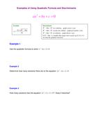 Examples of Using Quadratic Formula and Discriminants.doc