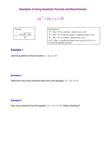 A Level Maths C1 Quadratic Formula Worksheet By