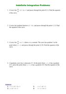 Indefinite Integration Problems.doc