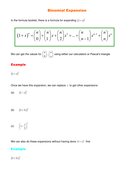 A Level Maths C2: Binomial Expansion worksheets