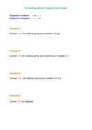 Examples of Converting between degrees and radians.doc