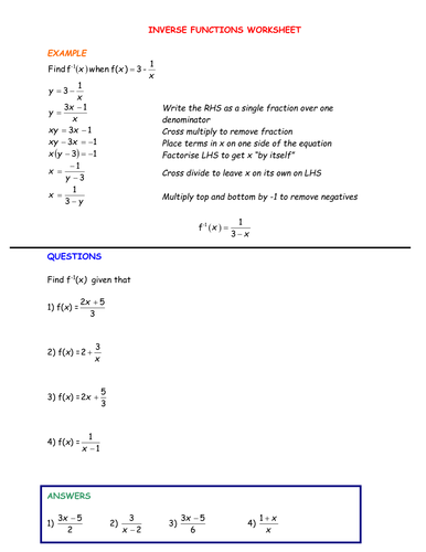 Worksheets Inverse Functions Worksheet a level maths composite and inverse functions by srwhitehouse teaching resources tes