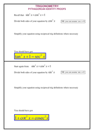 A level Maths: Reciprocal Trig functions worksheet