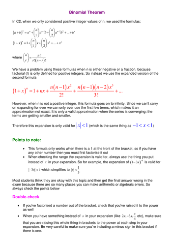 Worksheets Binomial Theorem Worksheet binomial expansion by srwhitehouse teaching resources tes theorem notes and examples doc