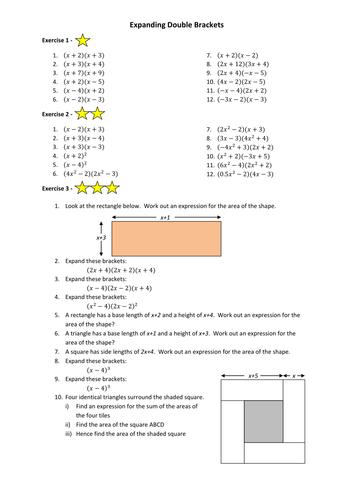 gcse maths expanding brackets worksheet by annamarchbank teaching resources tes. Black Bedroom Furniture Sets. Home Design Ideas