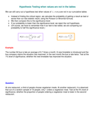 Maths Further Statistics:Hypothesis Testing sheet