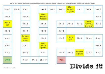 maths division board game by baldwj uk teaching resources tes. Black Bedroom Furniture Sets. Home Design Ideas