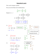 Integration By Parts Worked Examples