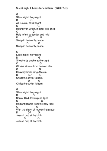 Chords Lyrics Silent Night By Pwilloughby3 Teaching