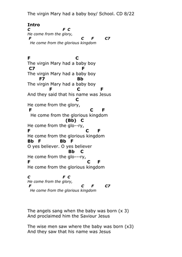 Chords Lyrics The Virgin Mary Had A Baby Boy By Pwilloughby3