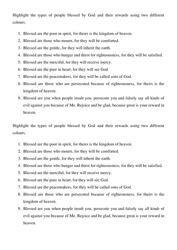 Printables Beatitudes Worksheet the beatitudes by dana2010 teaching resources tes