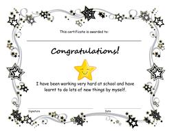 End of term congratulations certificate
