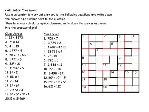 Gcse Maths Starter Calculator Crossword By