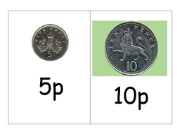 Large flashcards showing 1p, 2p, 5p and 10p coins | Teaching Resources
