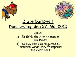 Work - German GCSE - speaking practice