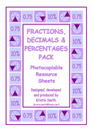 Maths Matching Cards - Equivalences KS2, KS3. (7+)