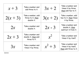 Matching Cards - Algebra in words