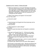 Romeo Juliet Questions Worksheet For 1 2 By Temperance Teaching